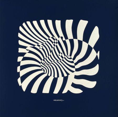 Screenprint Vasarely - Zèbres sur fond bleu