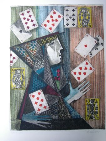 Etching And Aquatint Finsterer - Zauberer / Magician