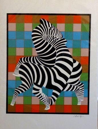 Screenprint Vasarely - Zebres