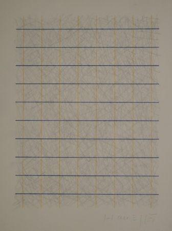 No Technical Honegger - Zeichnung in Bleistift und Rapidograph in Blau und Orange.