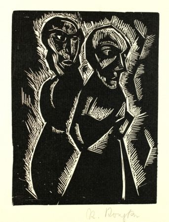 Woodcut Koepke - Zwei Frauen (Two Women)