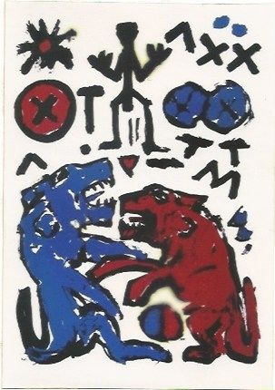 Screenprint Penck - Zwei Lowen