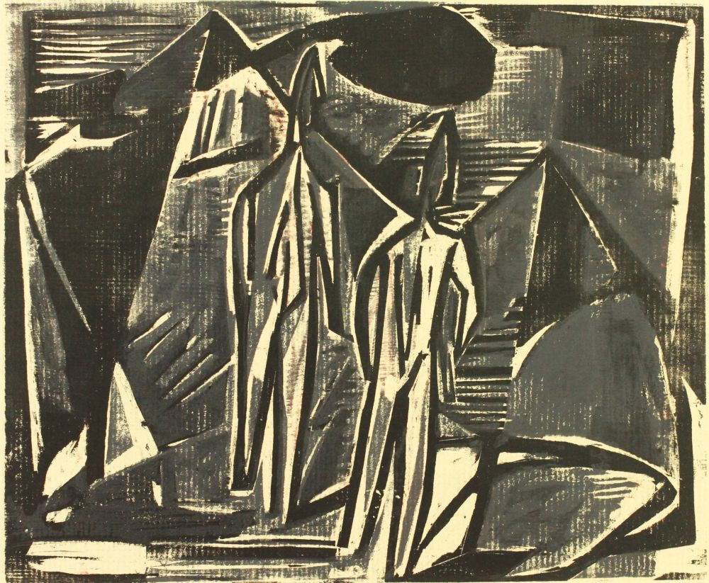 Woodcut Wildemann - Zwei Menschen in Landschaft (Two people in landscape)