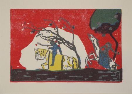 Woodcut Kandinsky - Zwei Reiter vor Rot.