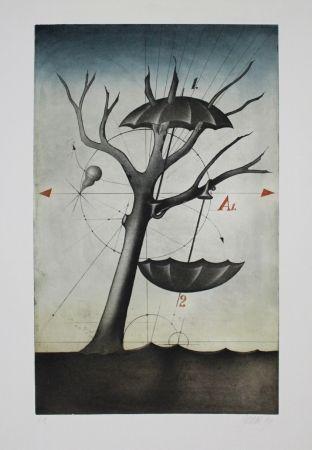 Etching And Aquatint Janak - Zwei Schirme