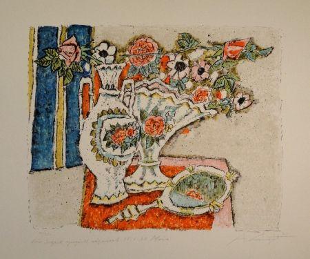 Lithograph Carigiet - (Zwei Vasen mit Rosen