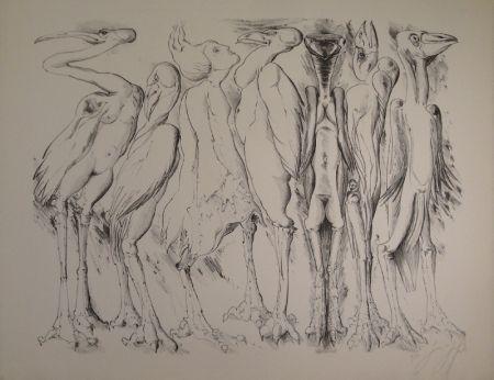 Lithograph Grass - Zwischen den Vögeln